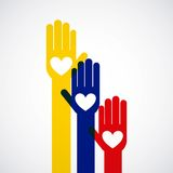 Colombian peace hands symbol Stock Photo