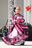 Colombian performs folk dance. Colombian child in traditional costume perform folk dance on National Sovereignty and Children Day festival, April 23, 2010 in Stock Photo
