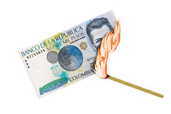 Colombian Peso Burn Royalty Free Stock Images