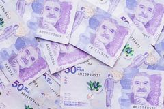 Colombian peso. 50,000 Colombian peso notes Royalty Free Stock Photos