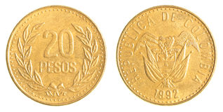 20 Colombian pesos coin Stock Image