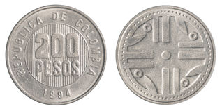200 Colombian pesos coin. Isolated on white background royalty free stock images