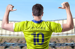 Colombian soccer player in the stadium Stock Images