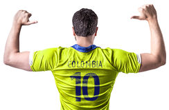 Colombian soccer player on white background Stock Image