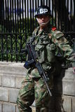 Colombian soldier. With Galil rifle in Bogota Stock Photography