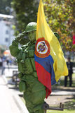 Colombian Soldier and flag in the street of Bogota Royalty Free Stock Image
