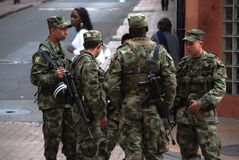 Colombian soldiers. With Galil rifles on the streets of Bogota Stock Photo