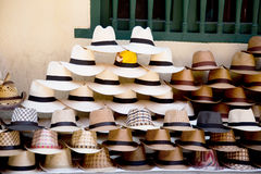 Colombian sombrero's. A pile of colombian sombrero's at a street vendors stand Stock Image