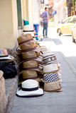 Colombian sombrero's. A street vendors display of sombrero's in Cartagena, colombia royalty free stock images