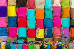 Colombian Souvenirs. Souvenir bags for sale in Cartagena, Colombia.  They are called 'mochilas' and are typical of the Wayuu Indians Royalty Free Stock Images