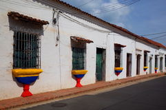 Colombian street in Mompox. A patriotic Colombian street in Mompox Royalty Free Stock Images