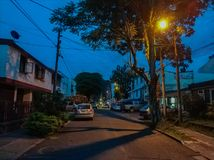 Colombian street at sunset Stock Images