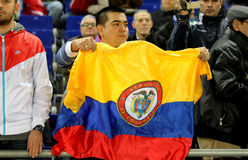 Colombian supporter of Atletico madrid Royalty Free Stock Image