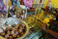Colombian sweets. In an exhibitor inside a typical shop in Cartagena de Indias Royalty Free Stock Images