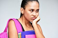 Colombian Teen Female Student And Depression. A pretty female latina teen royalty free stock photos