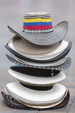 Colombian tourist hats on square in Medellin, Colombia Stock Image