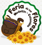 Colombian Traditional Carriel Bag and Daisies for Flowers Festival, Vector Illustration Stock Photography