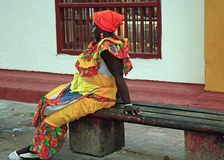 Colombian woman, Cartajena. Colombian woman wearing traditional costume, Cartajena, Colombia Royalty Free Stock Photography