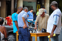Colombianos playing chess in the streets of Cali, Colombia Royalty Free Stock Images