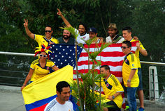 Colombians and Americans at the FIFA World Cup Royalty Free Stock Image