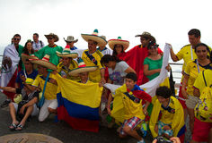 Colombians e mexicanos no campeonato do mundo de FIFA Foto de Stock Royalty Free