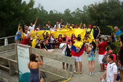 Colombians soccer fans at the FIFA World Cup Royalty Free Stock Photography