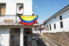 Colombiansk flagga i Cali, Colombia Royaltyfri Fotografi
