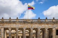 Colombiansk nationell Kapitolium och kongress som placeras på den Bolivar fyrkanten - Bogota, Colombia royaltyfri foto