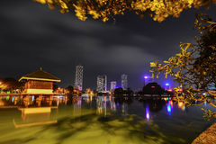 Colombo Beira Lake, Skyline And Modern Skyscrapers Royalty Free Stock Photos