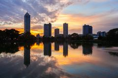 Colombo city skyline view. Beira lake and Colombo city skyline view at sunset. Beira lake is a lake in the center of the Colombo in Sri Lanka stock photo
