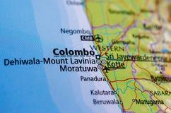 Colombo no mapa imagem de stock royalty free