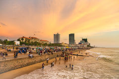 Colombo seafront at sunset Royalty Free Stock Image