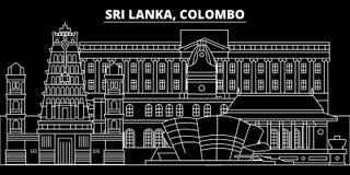 Colombo silhouette skyline. Sri Lanka - Colombo vector city, sri lankan linear architecture, buildings. Colombo travel stock illustration