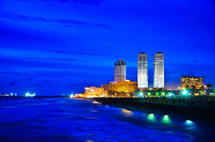Colombo Skyline, Sri Lanka. Colombo Skylinet at night, Sri Lanka Stock Photo
