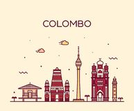 Colombo Skyline, Sri Lanka Vector lineaire stijl Stock Afbeeldingen