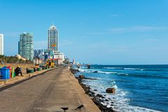 Colombo, Sri Lanka - April 5, 2019: Galle Face Green beach and waterfront park in Colombo, capital of Sri Lanka royalty free stock photos