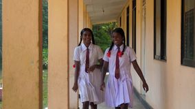 Sinhalese girls walk at green trees near building. Colombo/Sri Lanka - April 05 2019: Pretty Sinhalese girls in white uniform walk along schoolyard and laugh at stock video footage