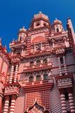 Colombo Sri Lanka - 11 Februari, 2017: Den dekorativa röd-och-vit fasaden av den Jamiul Alfar moskén i hjärtan av Royaltyfria Bilder