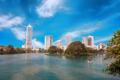 Colombo, Sri Lanka - 11 February 2017: Panorama of Beira Lake and business towers skyscrapers in Colombo, Sri Lanka Royalty Free Stock Image