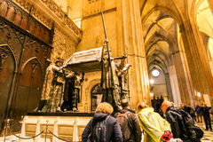 Colombus tomb in cathedral Royalty Free Stock Images