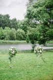 Colomns with flowers for werdding ceremony Stock Image