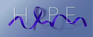 Colon Cancer Awareness Calligraphy Poster Design. Realistic Dark Blue Ribbon. March is Cancer Awareness Month. Vector. Colon Cancer Awareness Calligraphy Poster royalty free illustration