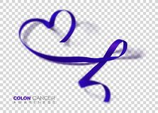Colon Cancer Awareness Month. Dark Blue Color Ribbon Isolated On Transparent Background. Colorectal Cancer. Vector Design Template. For Poster. Illustration stock illustration
