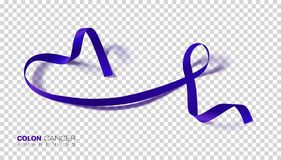 Colon Cancer Awareness Month. Dark Blue Color Ribbon Isolated On Transparent Background. Colorectal Cancer. Vector Design Template. For Poster. Illustration royalty free illustration
