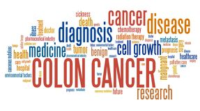 Colon cancer. Word collage concept. Serious illness treatment royalty free illustration