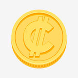 Colon currency symbol on gold coin Royalty Free Stock Photo