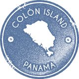 Colon Island map vintage stamp. Retro style handmade label, badge or element for travel souvenirs. Light blue rubber stamp with island map silhouette. Vector Stock Photography