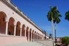 Colonade hallway. Colonade - hallway of pink marble columns Royalty Free Stock Photography