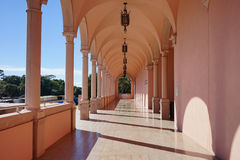 Colonade hallway. Colonade - hallway of pink marble columns Royalty Free Stock Photos