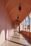 Colonade hallway. Colonade - hallway of pink marble columns, taken in Sarasota, Florida Stock Image